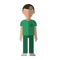 Doctor with head mirror and green uniform surgeon vector