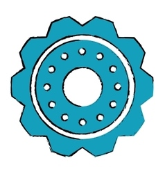 Drawing blue gear wheel engine cog icon vector