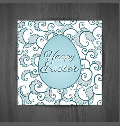 easter greeting card with curls on wooden vector image