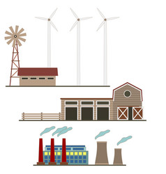 ecological energy wind factories set isolated on a vector image