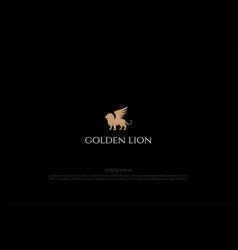 elegant luxury lion king with wing logo design vector image