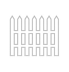 fence simple sign black dotted icon on vector image