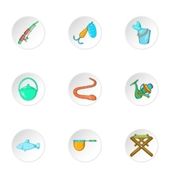 Fishing icons set cartoon style vector