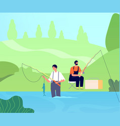 fishing on river fisherman catches fishes man vector image