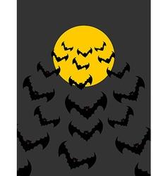 Flying vampires against background of moon Bunch vector