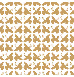 Gold vintage peace dove seamless pattern vector