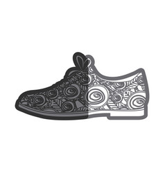 Gray thick contour of male shoe with floral vector