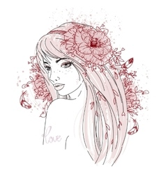 Hand drawn girl portrait with flowers vector