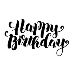 happy birthday modern brush lettering vector image