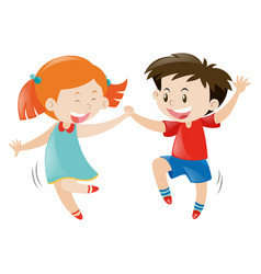 happy boy and girl dancing vector image