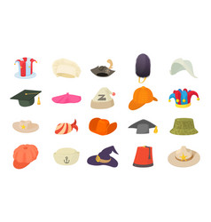 hat icon set cartoon style vector image