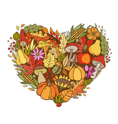 heart shaped autumn background vector image