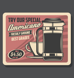 Hot american drink in steaming cup coffee pot vector