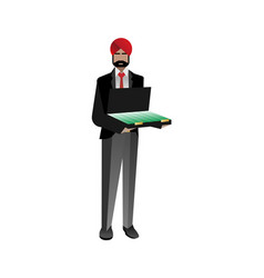 Indian bearded investor with open suitcase vector
