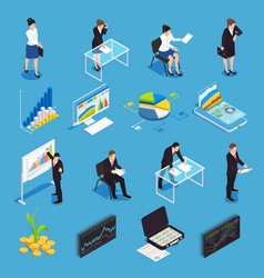 Investment funding isometric icons vector