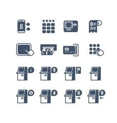 Kiosk terminal service info icons vector image