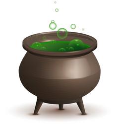 large iron pot with green magic potion halloween vector image