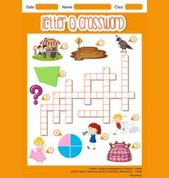 Letter q crossword template vector