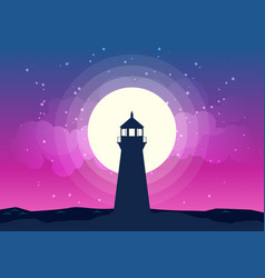 Lighthouse silhouette moonlight vector