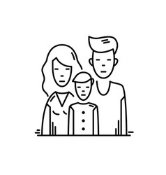 Line icon family mother father and son vector