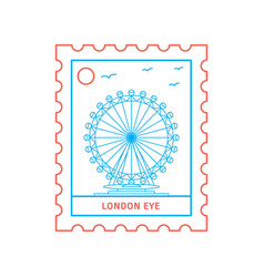 London eye postage stamp blue and red line style vector