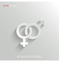 Male and female icon - white app button vector image