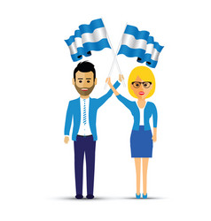 man and woman waving argentina flags vector image