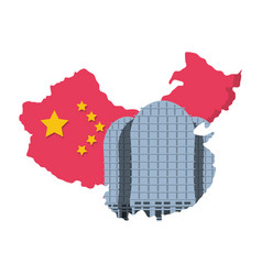 map china with building isolated icon vector image