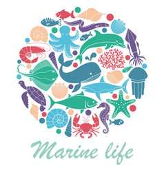marine life icons in the form of a circle vector image