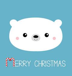 Merry christmas candycane text polar white bear vector
