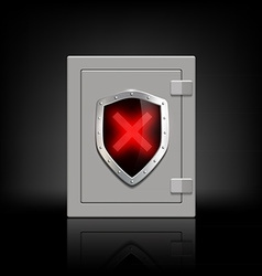 metal safe with a shield which depicts a cross vector image