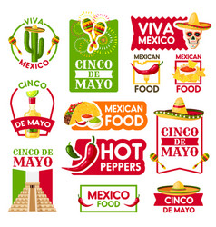 Mexican icons for cinco de mayo holiday vector