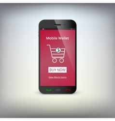 Mobile banking wallet on screen of smartphone vector