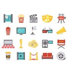 Modern cinema icons in flat style vector