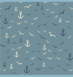 nautical seamless pattern with anchor and seagulls vector image