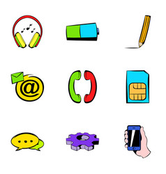 Network icons set cartoon style vector