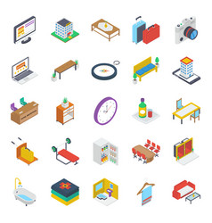 Pack isometric tourism icons vector