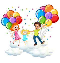 Parents and little girl on clouds with colorful vector