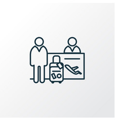 passenger at registration icon line symbol vector image