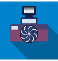 Photocamera icon on the blue background vector