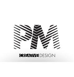pm p l lines letter design with creative elegant vector image