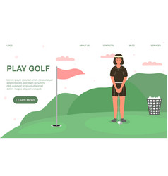 professional female golf player aiming vector image