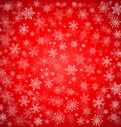 Red Christmas background with different snowflakes vector image