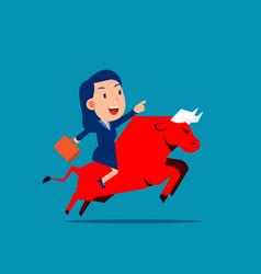 ride a red bull bull market concept flat cartoon vector image