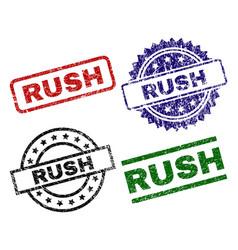 Scratched textured rush stamp seals vector