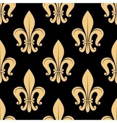 Seamless golden fleur-de-lis pattern over black vector