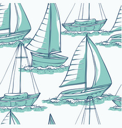 Seamless pattern sailing yachts on sea vector