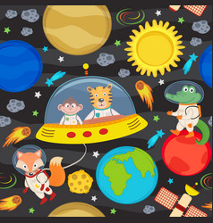 seamless pattern with spacecraft and animals vector image