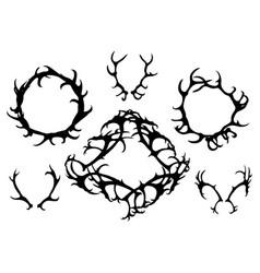 Set black silhouettes deer horns round vector