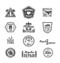Set of bike monochrome label vector image